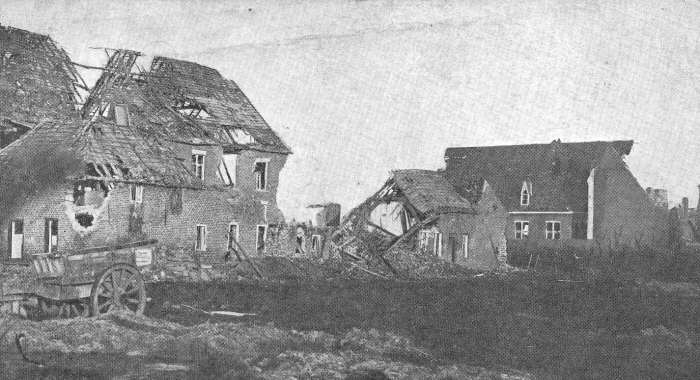 Langemark in ruins during the First World War