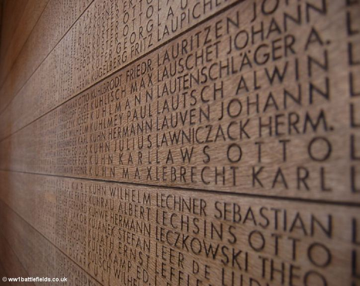 List of names at Langemark German Cemetery