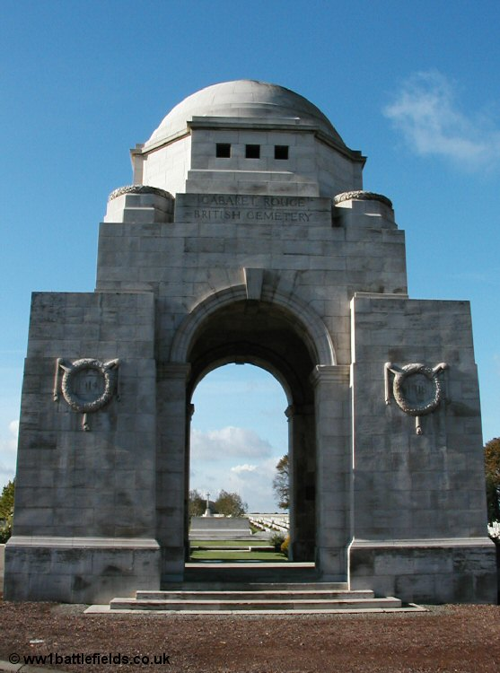The imposing entrance to Cabaret Rouge British Cemetery