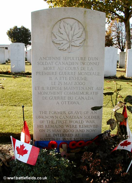 The grave where the Canadian Unknown Soldier lay before his body was moved to Ottawa