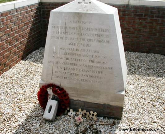 Memorial to Second Lieutentant George Marsden-Smedley