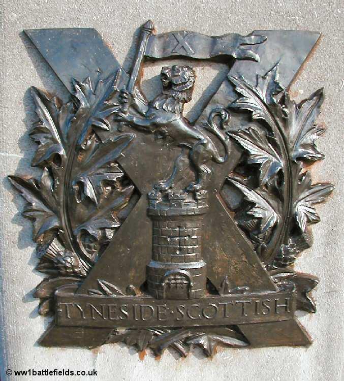 The brass insignia of the Tyneside Scottish