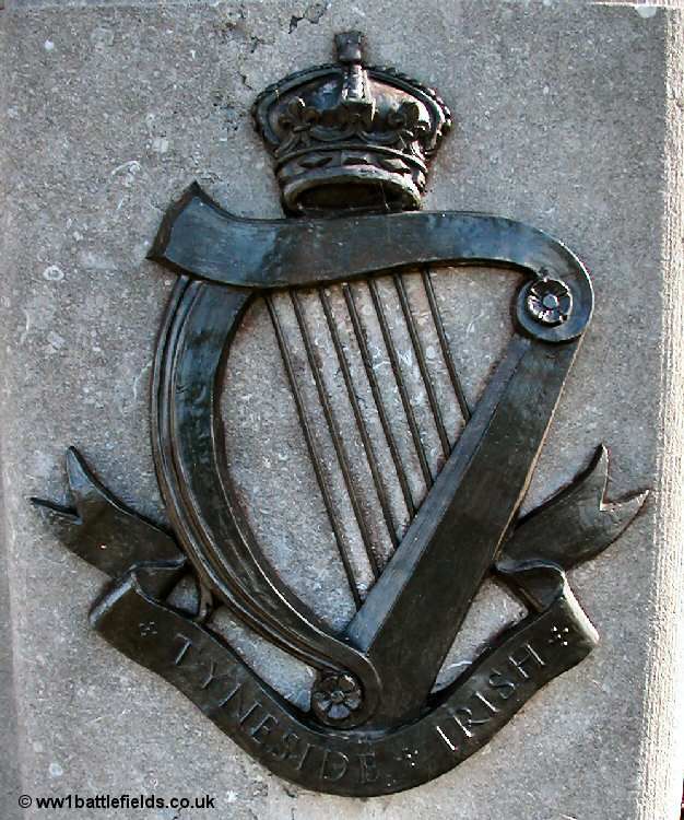 The brass insignia of the Tyneside Irish