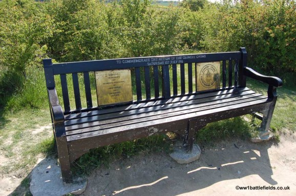 The 'Grimsby Chums' seat at the Lochnagar crater