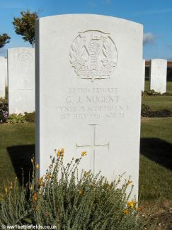 Grave of Pte George Nugent, whose remains were found at Lochnagar in 1998