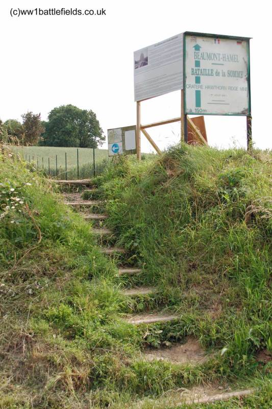 New steps leading to the Hawthorn Crater site