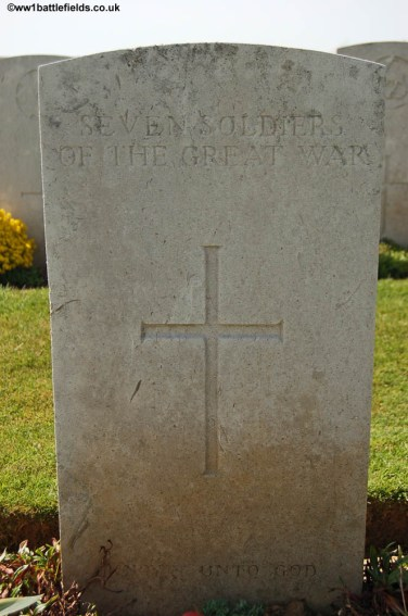 Headstone for seven unknown soldiers