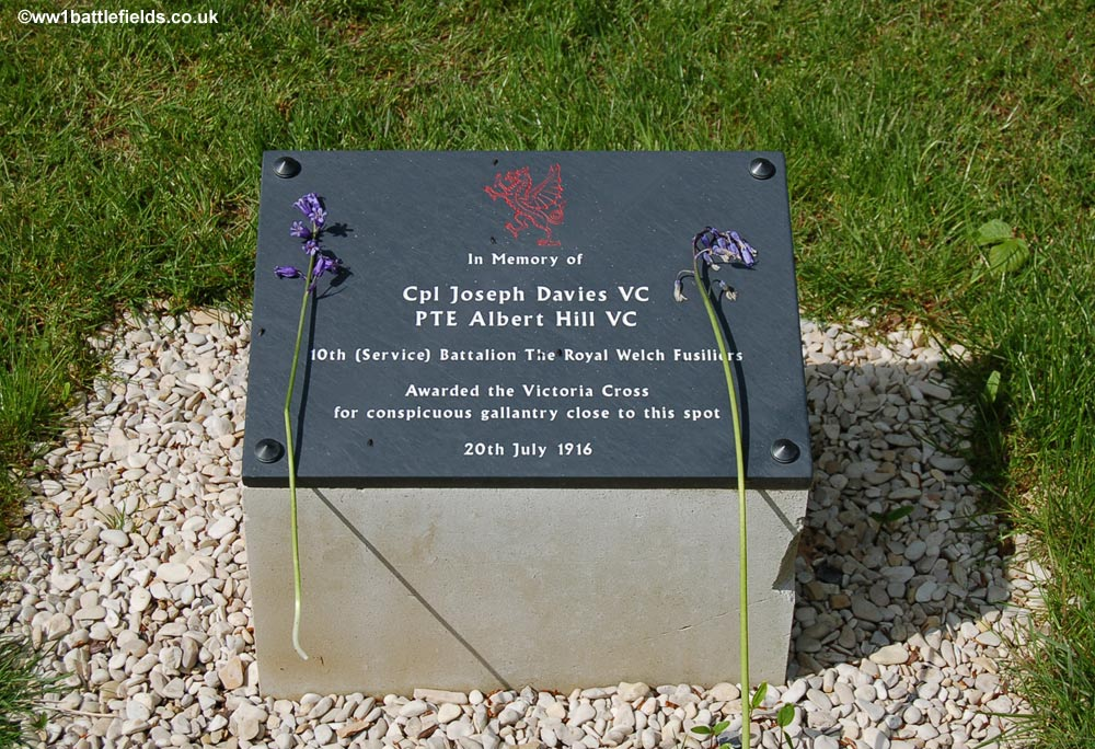 The plaque commemorating two of the VCs won in Delville Wood