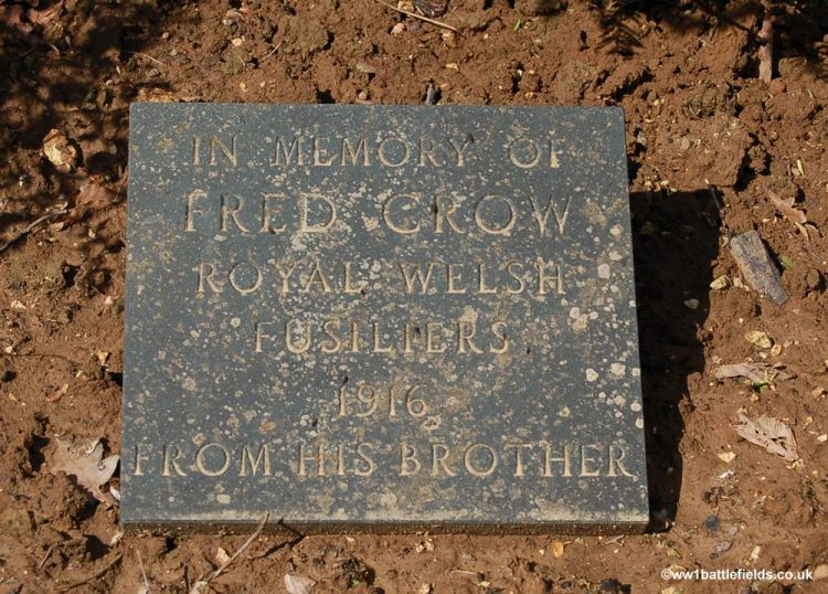 Plaque to Private Fred Crow in Delville Wood car park