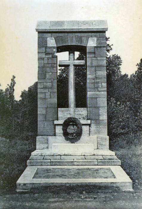 The original stone memorial to the 47th (London) Division at High Wood. Photo: Combier-Macon