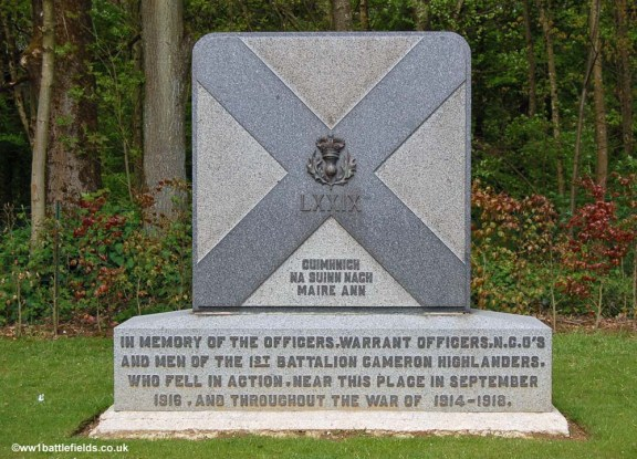 The memorial to the Cameron Highlanders & Black Watch