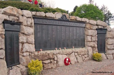 The panel listing the Newfoundland Regiment's Missing, at the base of the Caribou