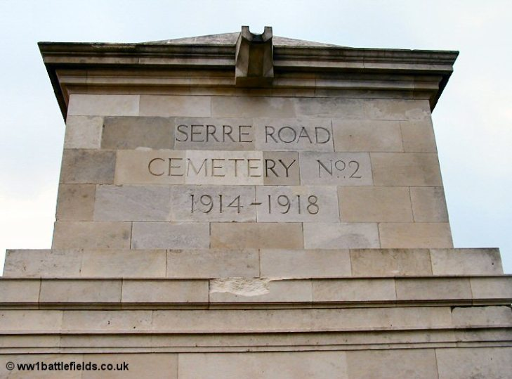The imposing entrance at Serre Road No. 2 Cemetery