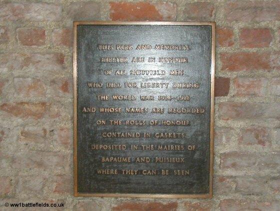 Memorial to Sheffield City battalion at Sheffield Memorial Park