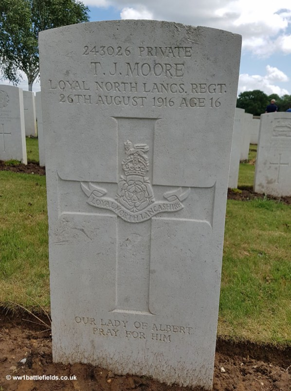 Grave of 16 year old Private Thomas Moore