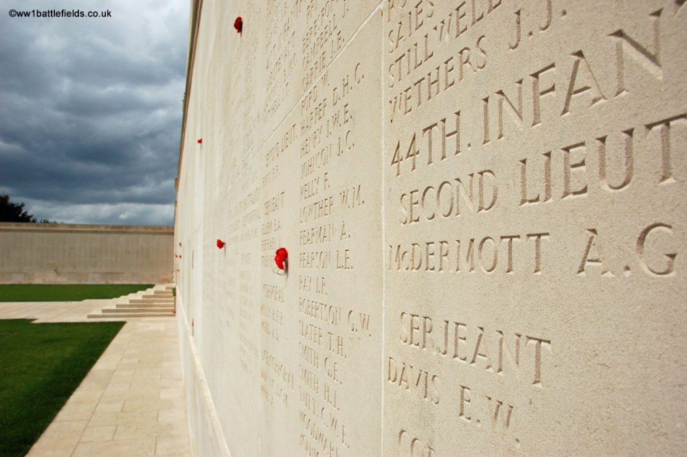 The names of the missing on the panels of the memorial at Villers-Brettoneux