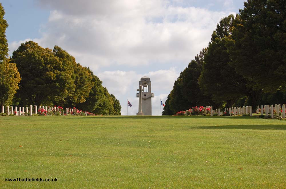 Villers-Bretonneux - the approach to the memorial through the cemetery
