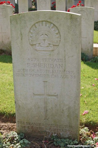 The grave of Private Frederick Sheridan at Villers-Brettoneux Cemetery