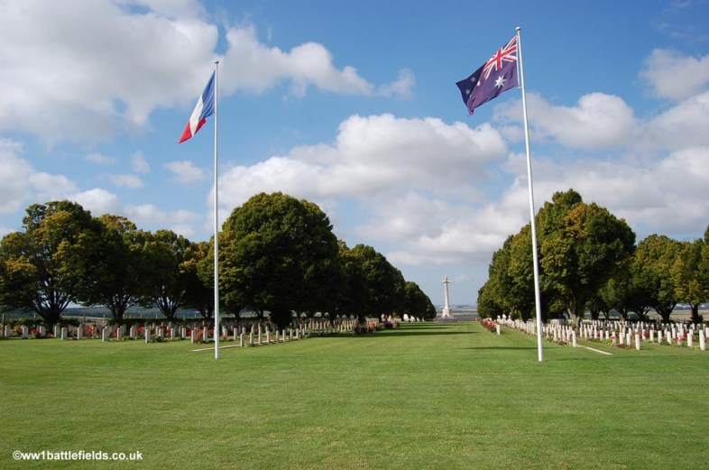 View from the memorial back through the cemetery at Villers-Brettoneux