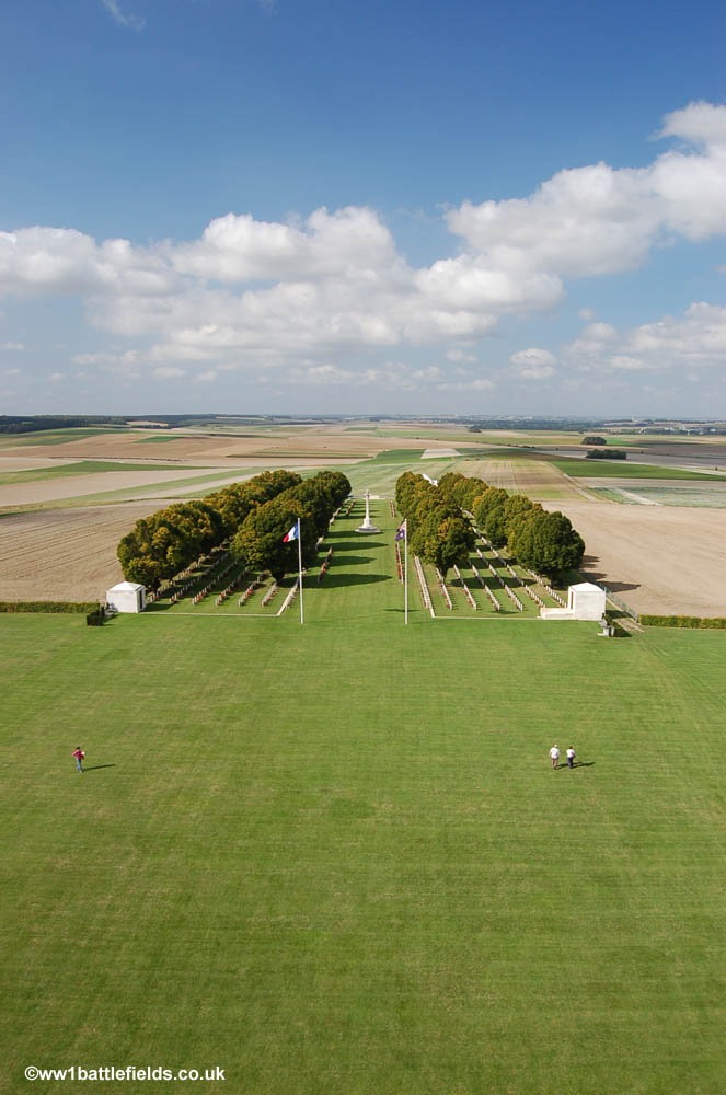 View from the top of the Villers-Brettoneux Memorial