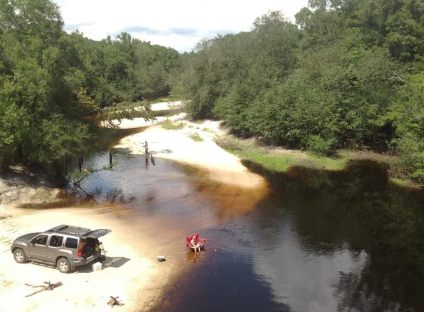 814x600 Public access on north side of bridge, with cement strip boat ramp at higher water level but no facilities. Access road is unpaved and about 1/4 mile long. Nice sandy beach., in Berrien Beach at GA 168 on the Alapaha River, by Bret Wagenhorst, for