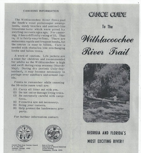 600x650 Cover, in Canoe Guide to the Withlacoochee River Trail, by John S. Quarterman, for WWALS.net, 0  1979