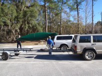 4288x3216 Loading canoe, in Alapaha River at Statenville, January 2014 WWALS Outing, by Gretchen Quarterman, 18 January 2014