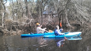 300x169 Chris and Heather at a house, in Alapaha deadfalls, by John S. Quarterman, for WWALS.net, 17 January 2015