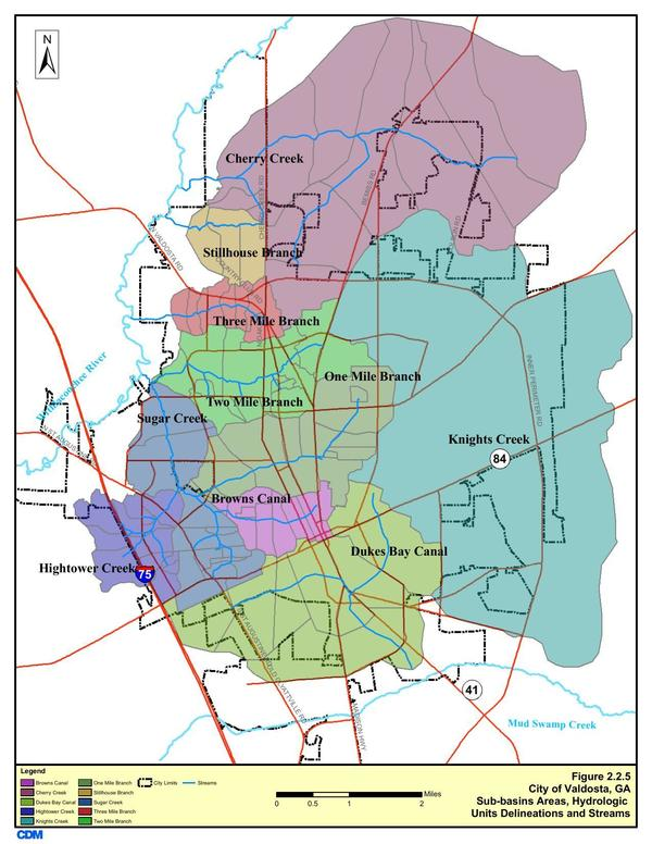 600x776 Figure 2.2.5. Sub-basins Areas, in Section 2 Methodology, by City of Valdosta, for WWALS.net, 14 January 2011