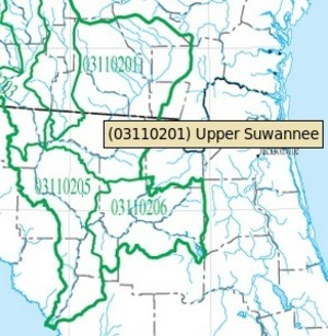 300x307 HUC 03110201 Upper Suwannee River, in Suwannee Region HUC, by USGS, for WWALS.net, 14 June 2015