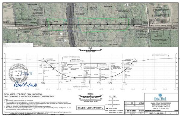 600x388 Proposed 36 Pipeline, Site Planand Profile, HDD, in Santa Fe River Crossing, by John S. Quarterman, for WWALS.net, 10 July 2015