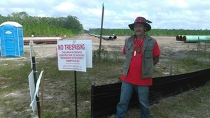 Gregory Payne outside Sabal Trail No Trespassing zone