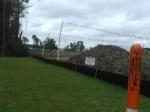 Fiber Optic Cable marker beside Sabal Trail at Pilgrims Pride, 30.3721710, -83.1557370