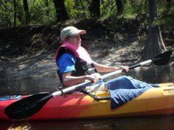 Contented paddler Betty Marini 30.5537117, -82.7207000