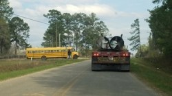 Lowndes County School Bus, Troy pipe truck, 30.7484951, -83.4027487