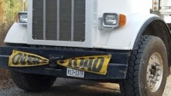 Obscured R17-1379 Lone Star State license plate, pipe truck, 30.7635044, -83.4124942