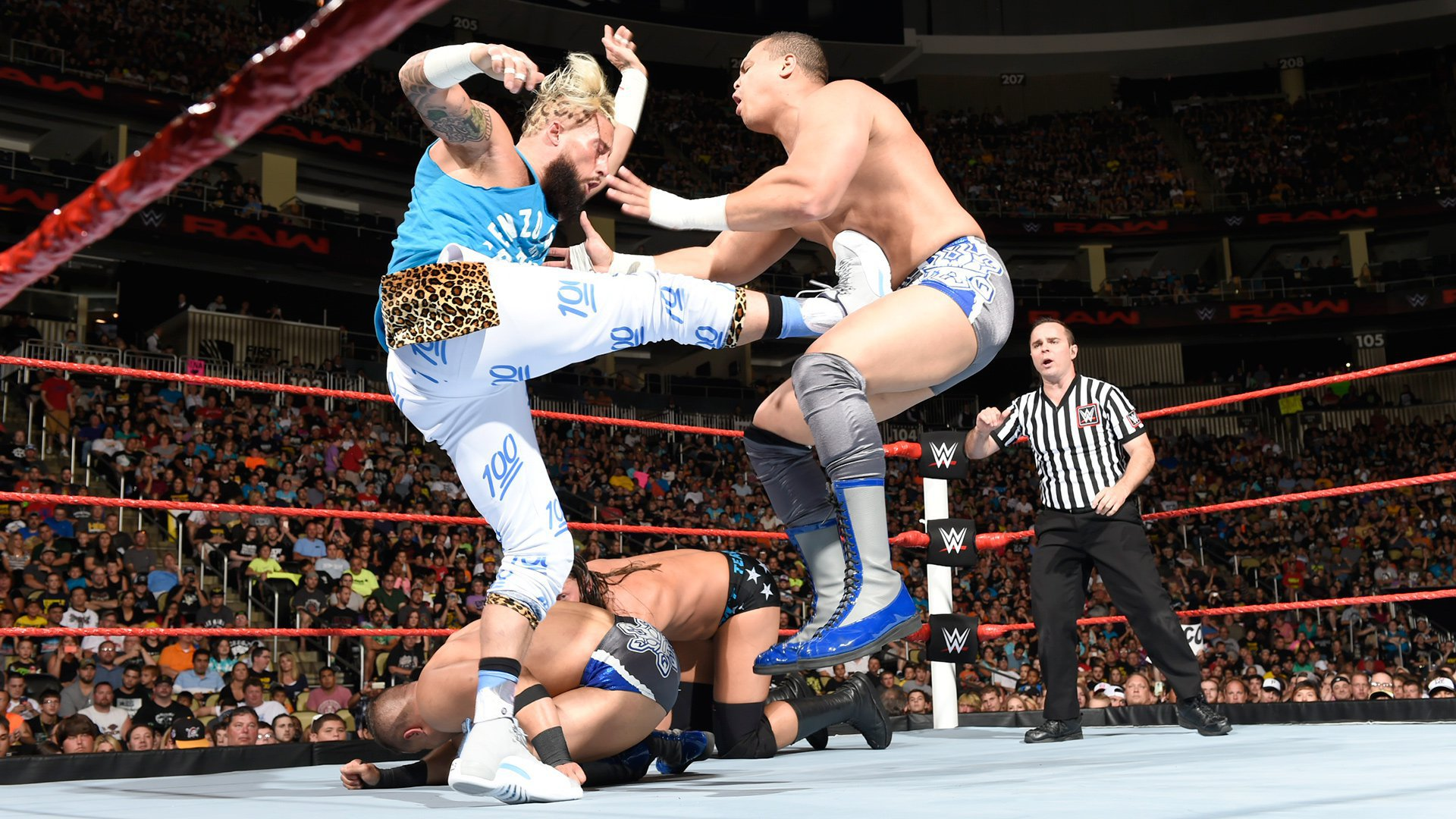 Image result for enzo amore and big cass vs shining stars