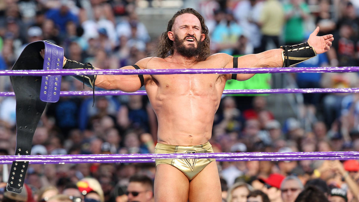 After catching Aries off-guard with a gouge to his previously injured eye, Neville retains the WWE Cruiserweight Championship.