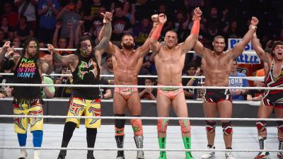 After Jey Uso unexpectedly tags in to seize a pin for The Usos that would have gone to American Alpha, the victors share a slightly contentious celebration.