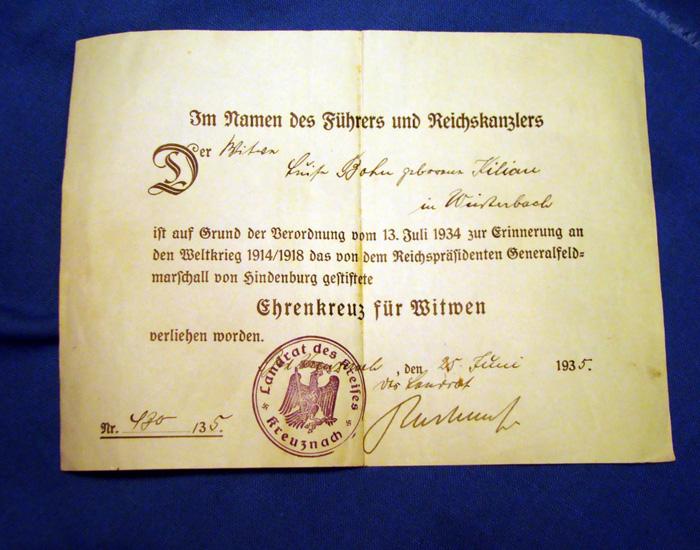 Wittmann Antique Militaria 31744 Widows Certificate 1934