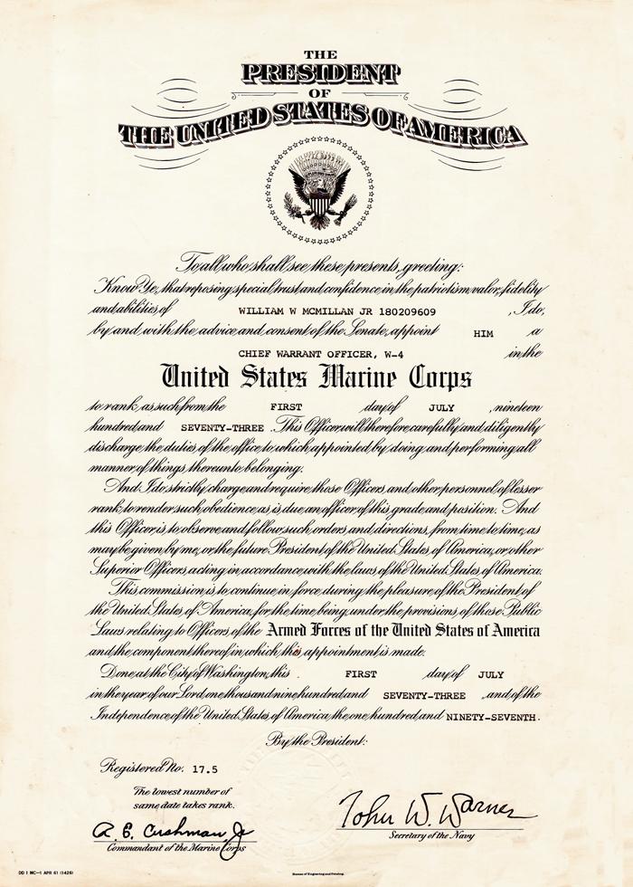 Warrant officer promotion certificate for Officer promotion certificate template