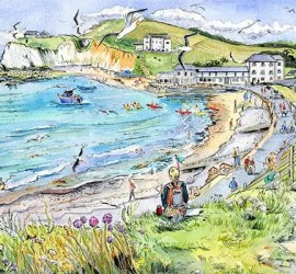 IOW artist Maria Ward sketching at Freshwater