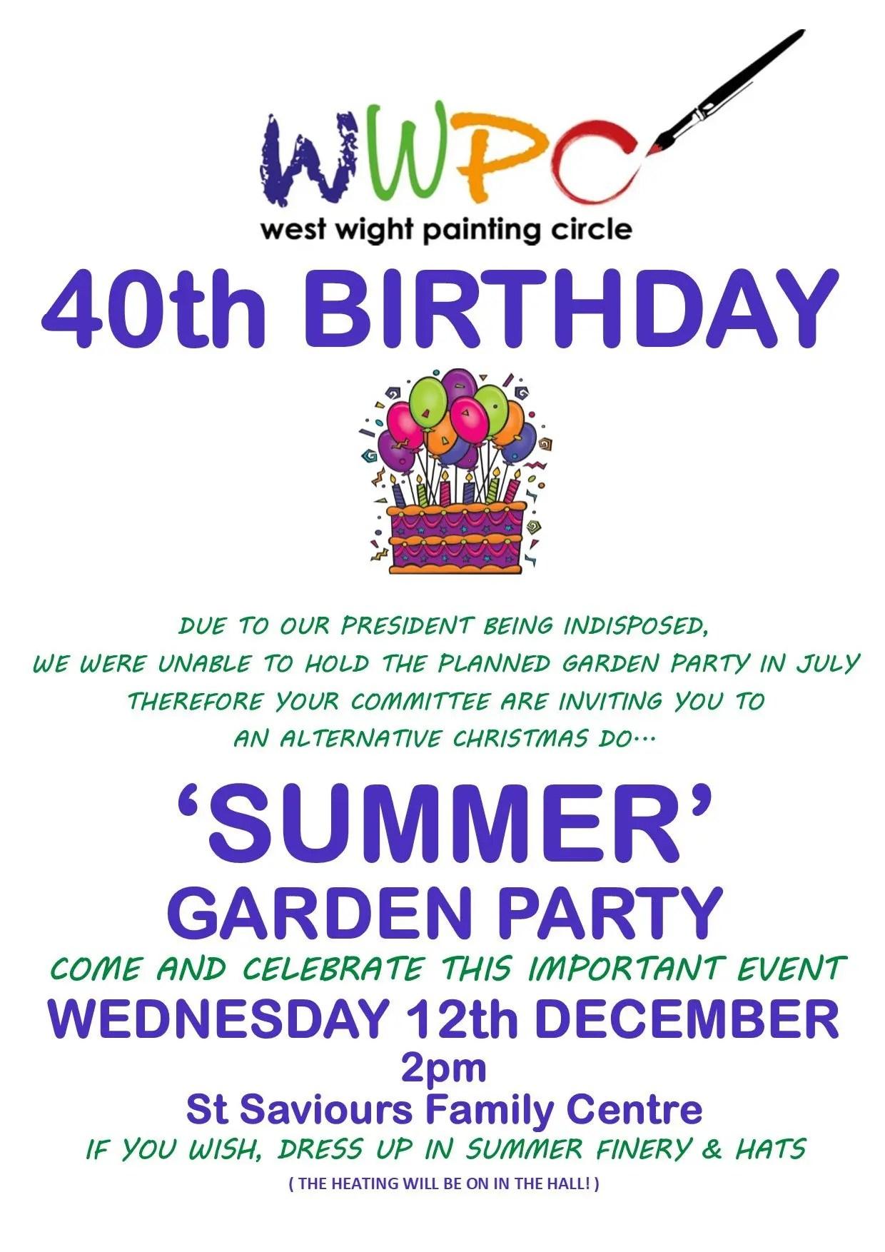 WWPC 40th Garden Party Celebrations Poster