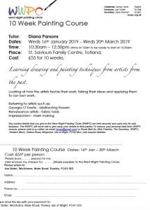 Spring art classes application form 2019