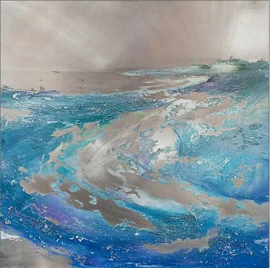 Carolyn Viney Aluminium and Acrylic textured seascape