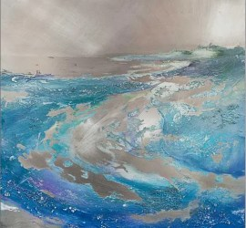 Carolyn Viney Aluminium and Acrylic textured seascape