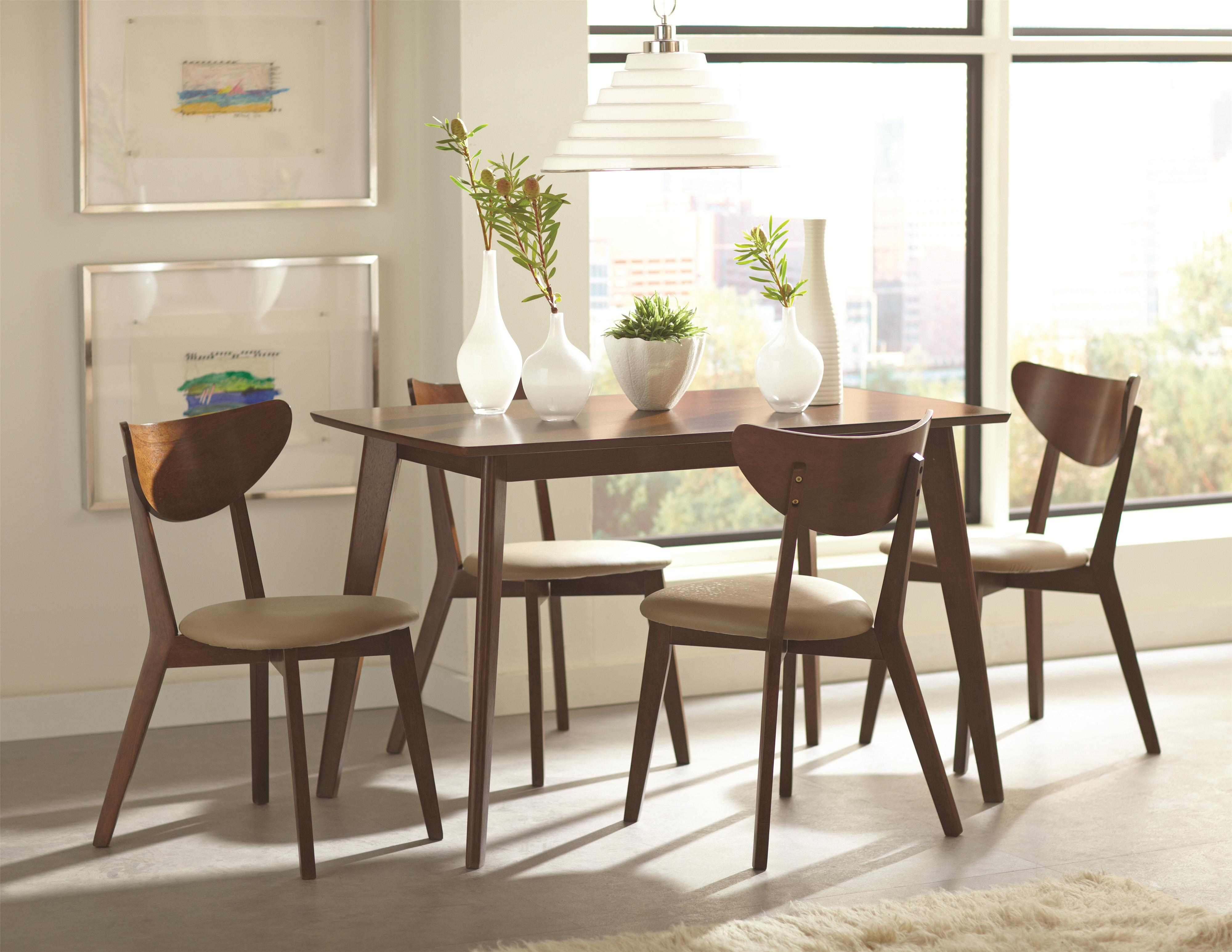 retro dining room table and chairs bedroom chair manufacturers coaster kersey 103061 brown mid century set