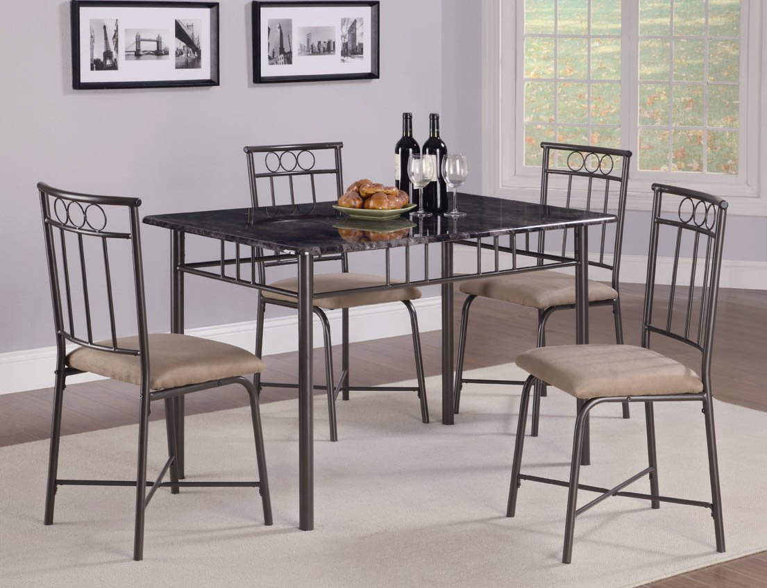 Marian Collection 150114 Faux Marble Dining Table Set Ashley Furniture Coaster Furniture Living Spaces
