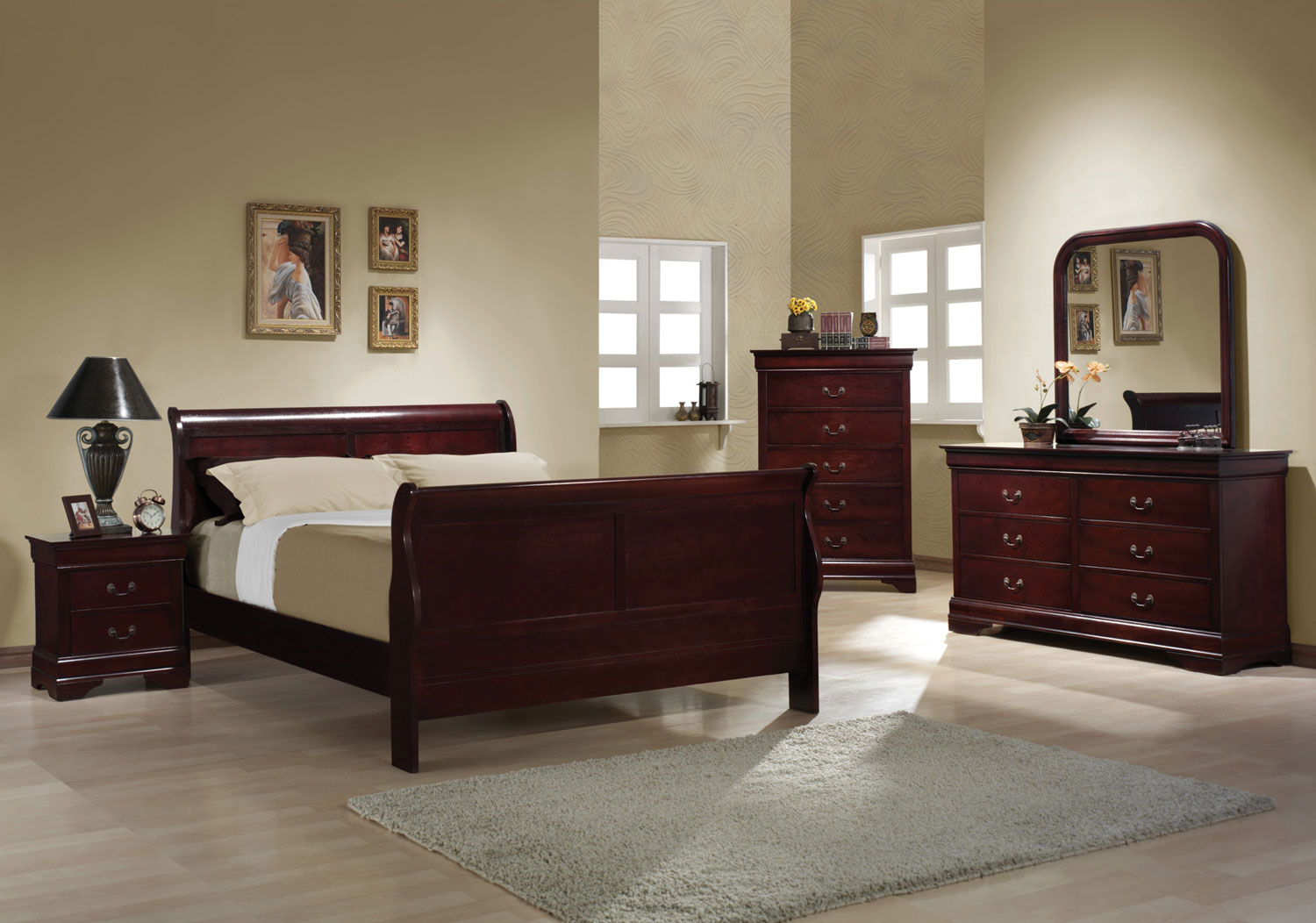 Cherry sleigh bedroom louis philippe 203971 queen bed king night stand dresser mirror