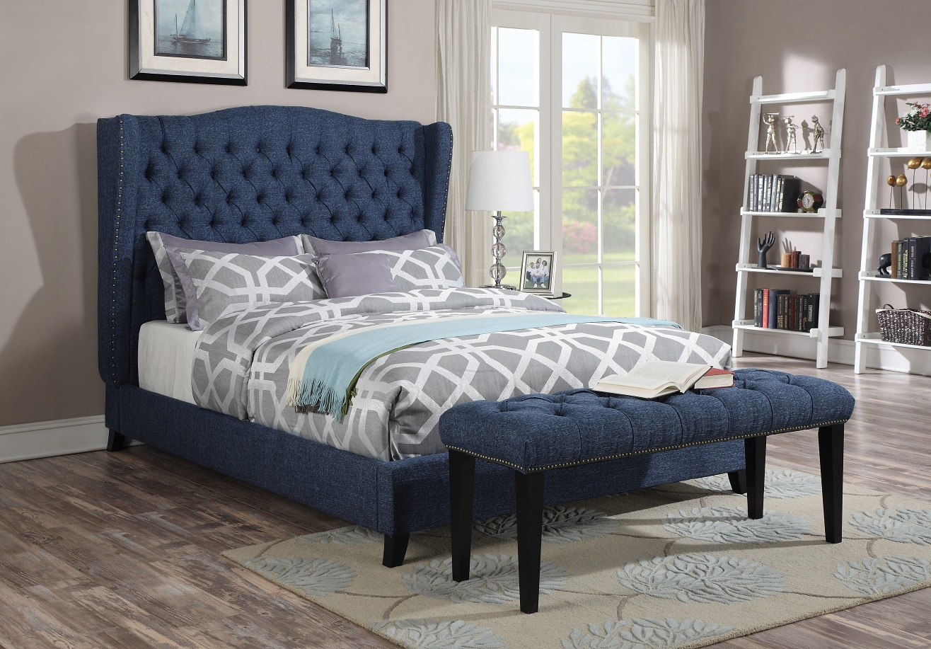 loveseat sleeper sofa leather narrow acme furniture 20880 faye blue wingback tufted nailhead ...